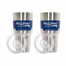 2Pk RecPro 30Oz Vacuum Insulated Tumblers 18/8 Stainless Steel W/ Slider Lids