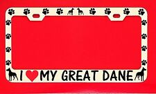 I Love My Great Dane Chrome License Plate Frame Tag Dog Paw Weatherproof Vinyl