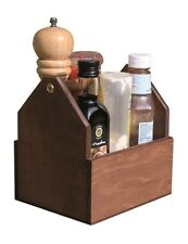 En bois couverts condiment holder display storage caddy chêne foncé table bar