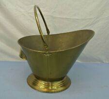 "VINTAGE BRASS ASH BUCKET W/ HANDLE FOR FIREPLACE  12.5"" diameter at handle"