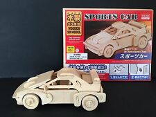 Daiso Japan Wooden 3D Model kit Sports Car ship from Japan Puzzle