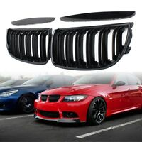 2x Kidney Grille Grill Set Gloss Black Double Slat Sport For BMW E90 E91 05-08