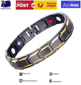 Titanium Steel Magnetic Therapy Bracelet for Arthritis Pain Relief Black & Gold