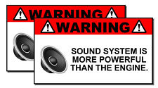 x2 Funny Sound System Warning Sticker Set Vinyl Decal Sub woofer JDM Car Woofer