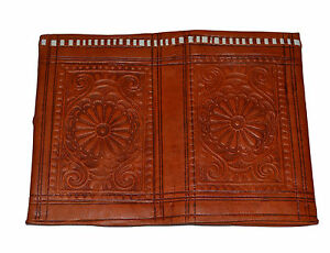 Moroccan Orange Leather Wallet Credit card Dollar Bills Handbag Purse Pocket