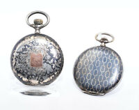 2 x alte Taschenuhr Set Niello Silber Savonette Cyma Silver Pocket Watch Set