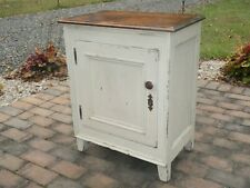 19th C SMALL PAINTED PRIMITIVE COUNTRY CUPBOARD TABLE, ACCENT, END, NIGHT STAND
