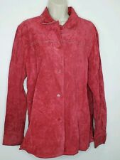 Outfit JPR Womens Medium Leather Suede Jacket Red Button Up