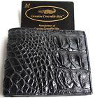 Genuine Real Crocodile Alligator Backbone Skin Leather Man Bifold Black Wallet