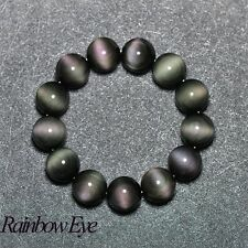 Authentic Stone Beads Crystal Natural Rainbow Eye Obsidian Bracelet