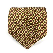 Made In Italy For Nordstrom Tie Men's 100% Silk Yellow Floral Geometric Necktie