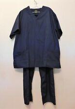 Natural Uniforms Scrub Top & Pants 2X Navy Blue Short Sleeve NEW