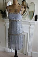 BRAND NEW Sagaie Paris Blue Silk 1920s Beaded Mini Dress w/ Wrap 14 RRP335 Large