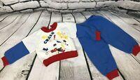 Vintage 80's Red Blue Kids Size 18 Months 2 Piece Boys Sweatpants Sweatshirt