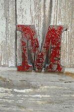 Fantastico STILE VINTAGE METALLO 3D ROSSO M lettera font shop sign targa a muro