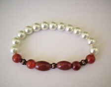 NEW  BUY 2 GET 3RD FREE RED AGATE OVALS, COPPER BEADS BRACELET