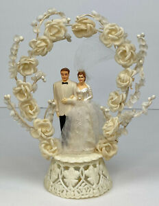 Vintage Bride & Groom Cake Topper Both Brown Hair