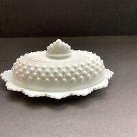 Fenton White Milkglass Hobnail Butter Dish Vintage Oval Ruffle Edge