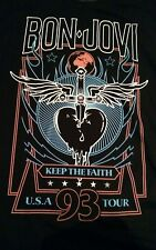 Bon Jovi tshirt keep the faith usa 93 tour bandmerch front & back print SMALL