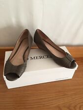 RRP $149 Womens Jo Mercer Leather Essay Taupe Wedge Heels Open Toe Shoes Size 8