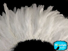 4 Inch Strip - WHITE Schlappen Strung Rooster Feathers