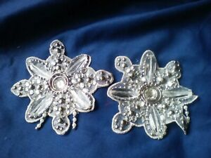 Pair Of Beaded Applique Patches Christmas Crafts