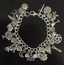 Wicca Charm Bracelet, Wiccan, Pagan, Magic, Moon Worship, Grimoire, Chalice