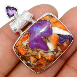 New Oyster Purple Turquoise & Amethyst 925 Silver Pendant Jewelry BP104067