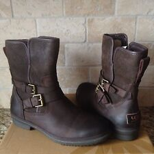 UGG SIMMENS STOUT WATERPROOF BOMBER LEATHER ANKLE BOOTS SIZE US 7 WOMENS