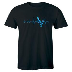 Musical Notes Heartbeat T Shirt Love Music Singer Dancer Musician Gift Tee