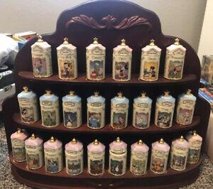 Disney LENOX Spice Jars Set Complete Collection 1995 UNUSED With Rack!