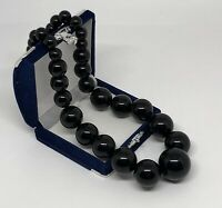 1980s VINTAGE Statement Necklace Chunky Graduated Black Beads Power Dressing VGC