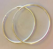 J07 Large 50mm x 1.5mm round sterling silver platedd hoop earrings BOXED Plum UK