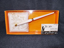 Ornate White Wedding Guest Book Registry Pen Studio His & Hers New in Box