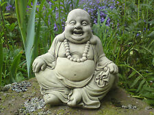 STONE GARDEN HAPPY LAUGHING WITH BEADS BUDDHA BUDDAH STATUE ORNAMENT