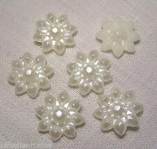 T5/01 - 6 PERLES BOUTONS FLEURS PLASTIQUE BLANC CRÈME ** 20 mm ** couture Bijoux