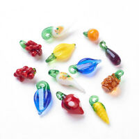 20pcs Fruit Vegetable Theme Handmade Lampwork Glass Dangle Loose Spacer Beads