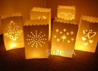 white tealight candle bags luminary wedding birthday party  venue decor(10/lot)
