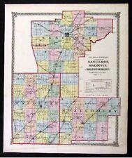1875 Beers Illinois Map - Sangamon Springfield Macoupin