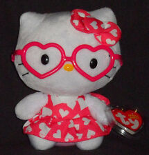 TY HELLO KITTY with HEART DRESS  / GLASSES BEANIE BABY - MINT with MINT TAG