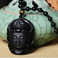 Amulet Unique Buddha Pendant Lucky Natural Obsidian Carved Necklace Black