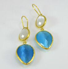 OttomanGems semi precious gemstone earrings gold faceted Cat Eye handmade