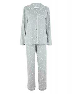 Ladies Ex M&S Pjs Womens Pyjama Set Star Long Sleeve Cotton Nightwear Plus Size