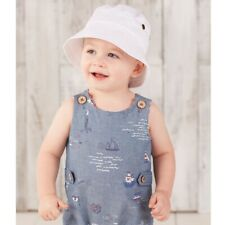 6b2915d0 Mud Pie E8 Boutique Baby Boy 6-18mo Summer White Twill Bucket Sun Hat  1502322