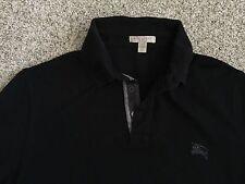mens Burberry Brit black polo shirt nova plaid check XS extra small