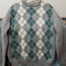 Vtg Alan Paine Wool Argyle Sweater Size 44 Made In England