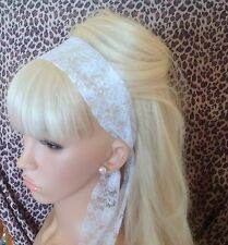 WHITE FLORAL LACE VINTAGE 50s 60s 80s RETRO STYLE HEAD HAIR BAND SELF TIE BOW