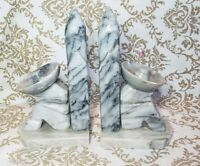 VTG Set of 2 Sleeping Mexican Bookends with Cactus & Sombrero Stone Grey Marble