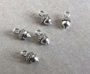 Antique Silver, Solid Acorn Charms, 8x13mm,5pcs, Jewellery Making, Other Crafts