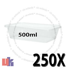 250 Square Plastic Kitchen Food Takeaway Box Container & Lid 500ml 178x125x40mm
